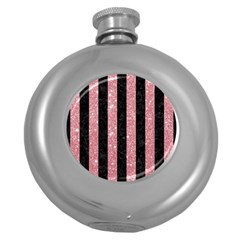 Stripes1 Black Marble & Pink Glitter Round Hip Flask (5 Oz) by trendistuff