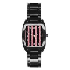 Stripes1 Black Marble & Pink Glitter Stainless Steel Barrel Watch by trendistuff