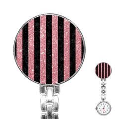 Stripes1 Black Marble & Pink Glitter Stainless Steel Nurses Watch
