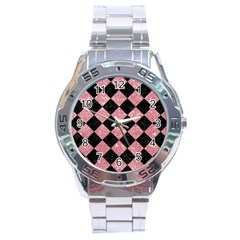 Square2 Black Marble & Pink Glitter Stainless Steel Analogue Watch by trendistuff