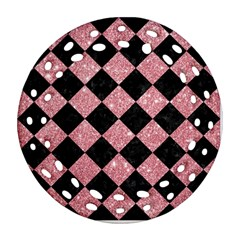 Square2 Black Marble & Pink Glitter Ornament (round Filigree) by trendistuff