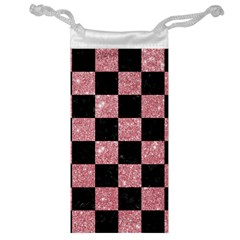Square1 Black Marble & Pink Glitter Jewelry Bag by trendistuff