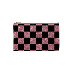 Square1 Black Marble & Pink Glitter Cosmetic Bag (small)  by trendistuff