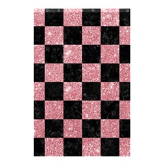 Square1 Black Marble & Pink Glitter Shower Curtain 48  X 72  (small)  by trendistuff