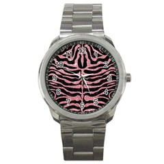 Skin2 Black Marble & Pink Glitter (r) Sport Metal Watch by trendistuff
