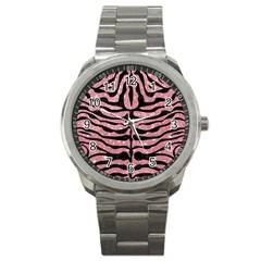Skin2 Black Marble & Pink Glitter Sport Metal Watch by trendistuff