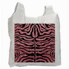 Skin2 Black Marble & Pink Glitter Recycle Bag (two Side)  by trendistuff