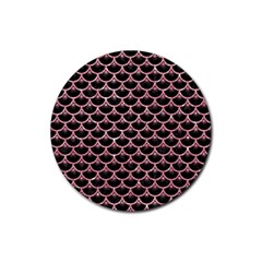 Scales3 Black Marble & Pink Glitter (r) Rubber Coaster (round)  by trendistuff