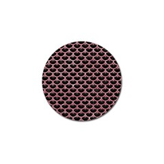 Scales3 Black Marble & Pink Glitter (r) Golf Ball Marker by trendistuff