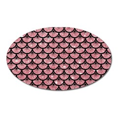 Scales3 Black Marble & Pink Glitter Oval Magnet by trendistuff