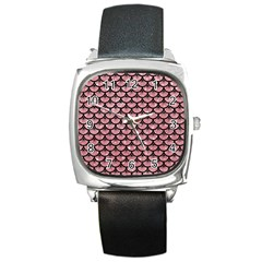 Scales3 Black Marble & Pink Glitter Square Metal Watch by trendistuff