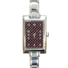 Scales2 Black Marble & Pink Glitter (r) Rectangle Italian Charm Watch by trendistuff