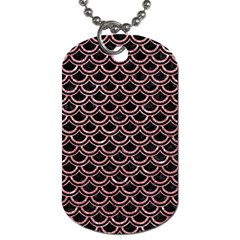 Scales2 Black Marble & Pink Glitter (r) Dog Tag (one Side) by trendistuff