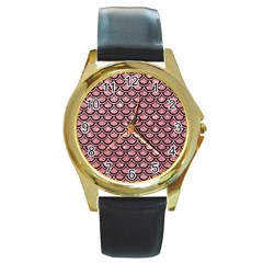Scales2 Black Marble & Pink Glitter Round Gold Metal Watch by trendistuff