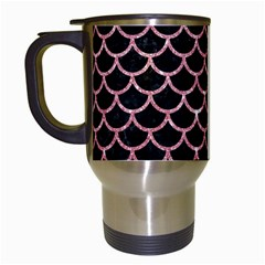 Scales1 Black Marble & Pink Glitter (r) Travel Mugs (white) by trendistuff