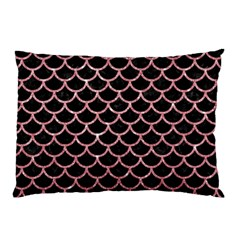 Scales1 Black Marble & Pink Glitter (r) Pillow Case by trendistuff