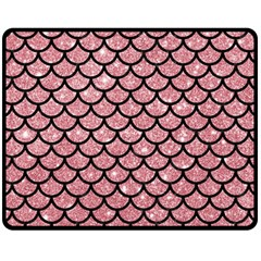 Scales1 Black Marble & Pink Glitter Fleece Blanket (medium)  by trendistuff