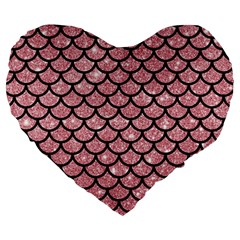 Scales1 Black Marble & Pink Glitter Large 19  Premium Heart Shape Cushions by trendistuff