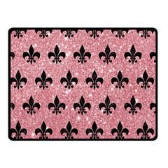 Royal1 Black Marble & Pink Glitter (r) Double Sided Fleece Blanket (small)  by trendistuff
