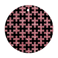 Puzzle1 Black Marble & Pink Glitter Round Ornament (two Sides) by trendistuff
