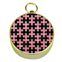Puzzle1 Black Marble & Pink Glitter Gold Compasses by trendistuff