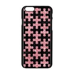 Puzzle1 Black Marble & Pink Glitter Apple Iphone 6/6s Black Enamel Case by trendistuff