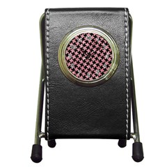 Houndstooth2 Black Marble & Pink Glitter Pen Holder Desk Clocks by trendistuff