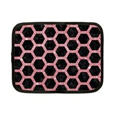 Hexagon2 Black Marble & Pink Glitter (r) Netbook Case (small)  by trendistuff