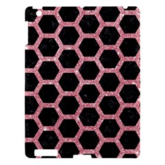Hexagon2 Black Marble & Pink Glitter (r) Apple Ipad 3/4 Hardshell Case by trendistuff