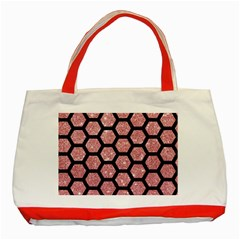 Hexagon2 Black Marble & Pink Glitter Classic Tote Bag (red) by trendistuff