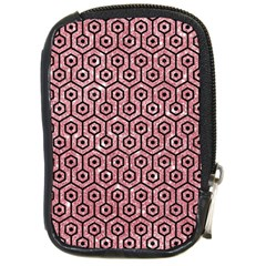 Hexagon1 Black Marble & Pink Glitter Compact Camera Cases by trendistuff