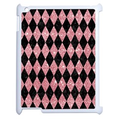 Diamond1 Black Marble & Pink Glitter Apple Ipad 2 Case (white) by trendistuff