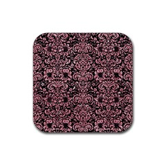 Damask2 Black Marble & Pink Glitter (r) Rubber Square Coaster (4 Pack)  by trendistuff