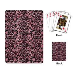 Damask2 Black Marble & Pink Glitter Playing Card by trendistuff