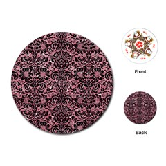 Damask2 Black Marble & Pink Glitter Playing Cards (round)  by trendistuff