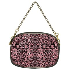 Damask2 Black Marble & Pink Glitter Chain Purses (one Side)  by trendistuff