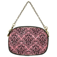 Damask1 Black Marble & Pink Glitter Chain Purses (two Sides)  by trendistuff