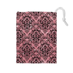 Damask1 Black Marble & Pink Glitter Drawstring Pouches (large)  by trendistuff