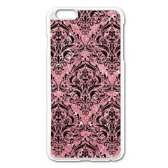 Damask1 Black Marble & Pink Glitter Apple Iphone 6 Plus/6s Plus Enamel White Case by trendistuff