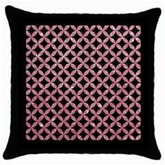 Circles3 Black Marble & Pink Glitter (r) Throw Pillow Case (black) by trendistuff
