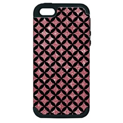 Circles3 Black Marble & Pink Glitter Apple Iphone 5 Hardshell Case (pc+silicone) by trendistuff