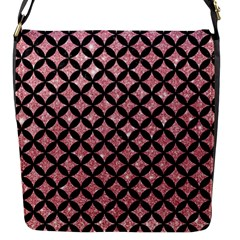 Circles3 Black Marble & Pink Glitter Flap Messenger Bag (s) by trendistuff