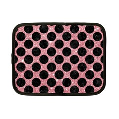 Circles2 Black Marble & Pink Glitter Netbook Case (small)  by trendistuff