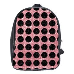 Circles1 Black Marble & Pink Glitter School Bag (large) by trendistuff