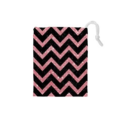 Chevron9 Black Marble & Pink Glitter (r) Drawstring Pouches (small)  by trendistuff