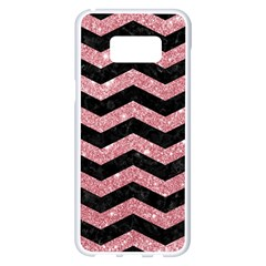 Chevron3 Black Marble & Pink Glitterchevron3 Black Marble & Pink Glitter Samsung Galaxy S8 Plus White Seamless Case