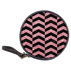 Chevron2 Black Marble & Pink Glitter Classic 20 Cd Wallets by trendistuff