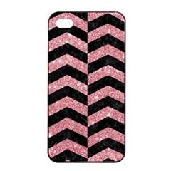 Chevron2 Black Marble & Pink Glitter Apple Iphone 4/4s Seamless Case (black) by trendistuff
