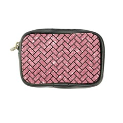Brick2 Black Marble & Pink Glitter Coin Purse by trendistuff