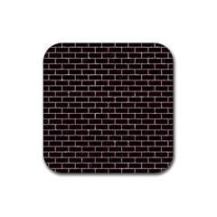 Brick1 Black Marble & Pink Glitter (r) Rubber Square Coaster (4 Pack)  by trendistuff